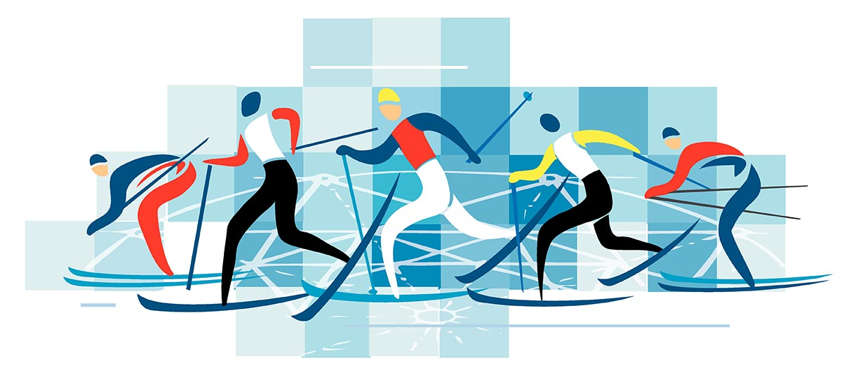 nordic skiers clipart