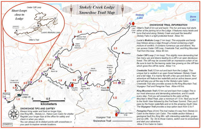 Stokely Snowshoe Trail Map