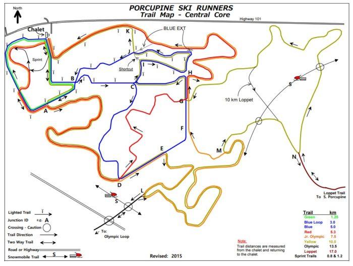 Porcupine Ski trail map - central core