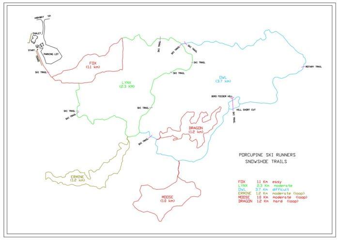 Porcupine Snowshoe trail map